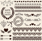 Love, romance and wedding design elements. Vector set. — Stock Vector