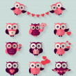 Flat owls. Love, romantic and Valentine's Day theme. Vector set. — Stock Vector #62195439