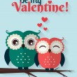 Be My Valentine! Vector greeting card with flat owls. — Stock Vector #62830485