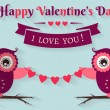 Happy Valentine's Day! Vector greeting card with flat owls. — Stock Vector #62830489