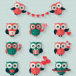 Flat owls. Love, romantic and Valentine's Day theme. Vector set. — Stock Vector #62830499
