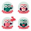 Valentine's labels with owls and ribbons. Vector set. — Stock Vector #62830507