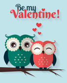Be My Valentine! Vector greeting card with flat owls. — Stock Vector