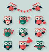 Flat owls. Love, romantic and Valentine's Day theme. Vector set. — Wektor stockowy