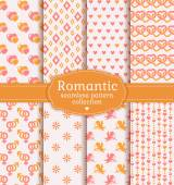 Love and romantic seamless patterns. Vector set. — Stock Vector
