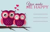 You make me happy. Vector card with cute owls. — Stock Vector