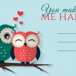 You make me happy. Vector card with cute owls. — Stok Vektör #63484949