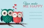 You make me happy. Vector card with cute owls. — Stock vektor