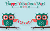 Happy Valentine's Day! Vector greeting card with flat owls. — Stock Vector