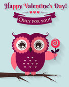 Happy Valentine's Day! Vector greeting card with flat owl. — Stock Vector