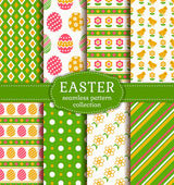 Happy Easter! Vector seamless patterns. — Stock Vector