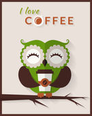 Coffee card with owl. — Stock Vector