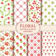 Floral seamless patterns. Vector set. — Vector de stock  #70268213