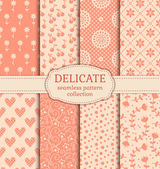 Delicate seamless patterns — Stock Vector