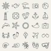Sea and beach line icons — Stock Vector