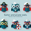 Sailor and pirate owl. Vector set. — Stock Vector #76771695