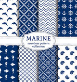 Sea and nautical seamless patterns set. — Stock Vector