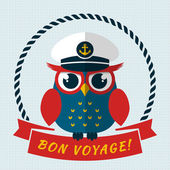 Bon voyage! Vector card with owl. — Stock Vector