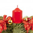 Christmas piece ribbon balls candles — Stock Photo #53325619