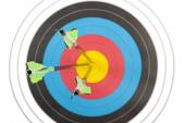 Bull's eye hit by three arrows — Stock Photo