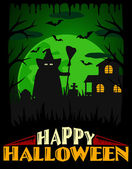 Scary Halloween background ,green — Stock Vector