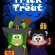 Halloween background trick or treating with animal, vector — Stock Vector #53652075