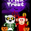 Halloween background trick or treating with animal — Stock Vector #53652085