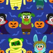 Transparente con animal en disfraces de halloween, fondo de halloween — Vector de stock