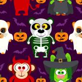 Fondo Halloween transparente con animal en disfraces de halloween — Vector de stock