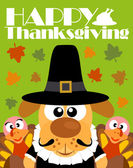 Happy Thanksgiving day background,with dog pilgrim — Stock vektor