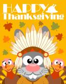 Happy Thanksgiving day background,with rabbit Indian — Stock vektor
