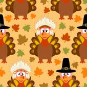 Thanksgiving seamless background with funny turkey — Stock vektor