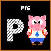 La letra P del alfabeto inglés — Vector de stock