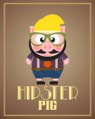 Funny hipster pig — Stock Vector