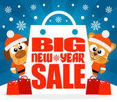 New Year Big sale background with animal vector — Stock Vector
