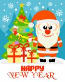 Happy New Year card with Santa Claus — ストックベクタ