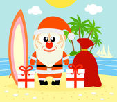 Tropical Christmas background with Santa Claus  — Stock Vector