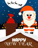Happy New Year card ,Santa on the roof — Stock Vector