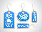 Sale Christmas Tags Set, blue — Vector de stock