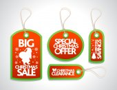 Sale Christmas Tags Set ,red — Cтоковый вектор