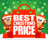 Best Christmas Price card with lion and monkey — Stockvector