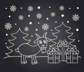 New Year chalkboard card with goat — Stock Vector