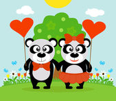 Valentine's day  background with pandas — Stock Vector