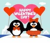 Valentine's day  background with penguins — Stock Vector