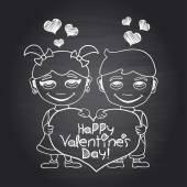 Happy Valentine's Day chalkboard card with boy and girl — Stockvector