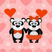 Valentine's day seamless background with pandas — Stock Vector