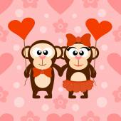 Valentine's day seamless background with monkeys — Stock Vector