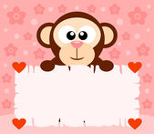Pink Valentine's Day background with monkey — Stock Vector