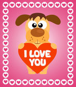 Valentin'es Day background with dog — Stock vektor