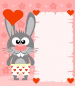 Pink Valentine's day background with rabbit — Stock Vector